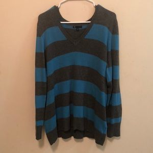 Blue and Grey Striped Gap Sweater